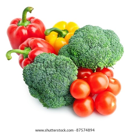 Set of different vegetables over white background. - stock photo