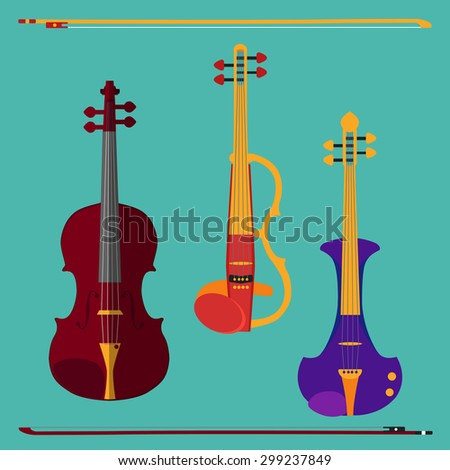 Set of different violins. Classical violin, electric violin with bows. Isolated musical instruments on teal background. illustration in flat style design.  - stock photo