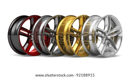 Set of different wheel disks isolated on white background - stock photo