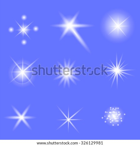 Set of Different White Lights Isolated on Blue Background - stock photo