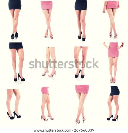 Set of different womens legs. Art of the body toned colorized image. Side, rear, back, front view. High heels in studio.  Crossed legs.  Color toned. Colorized image. Big set of studio pictures. - stock photo
