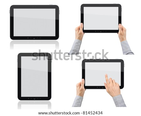 Set of digital tablet pc with businessman hands. Isolated on white.