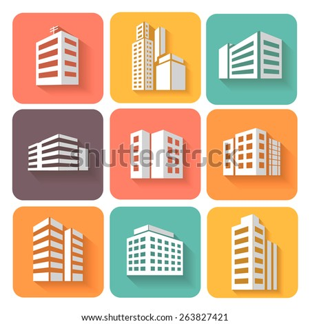 Set of dimensional buildings icons  with shadow  - stock photo