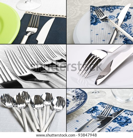 Set of dinner settings and cutlery - stock photo