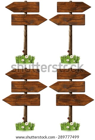 Set of Directional Wooden Signs with Pole / Collection of wooden signs with directional arrow and pole. Isolated on white background with green grass, daisy flowers and a ladybug - stock photo