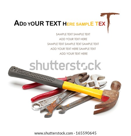 Set of dirty old hand-tools. Close-up. Isolated on white background. Studio photography.  - stock photo
