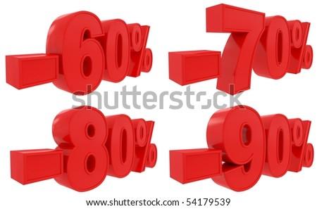 set of discount 60-90% - stock photo