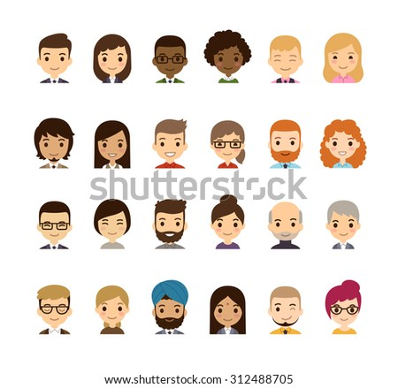 Set of diverse avatars. Different nationalities, clothes and hair styles. Cute and simple flat cartoon style. - stock photo
