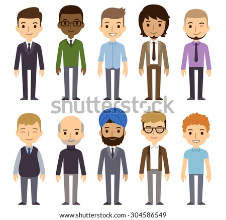 Set of diverse businessmen isolated on white background. Different nationalities and dress styles. Cute and simple flat cartoon style. - stock photo