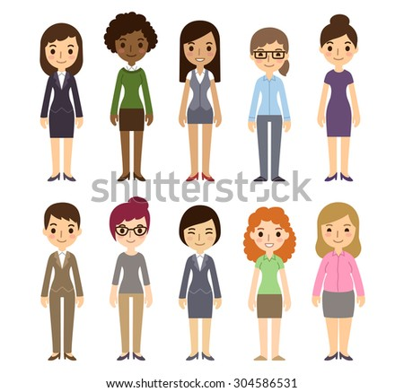 Set of diverse businesswomen isolated on white background. Different nationalities and dress styles. Cute and simple flat cartoon style. - stock photo