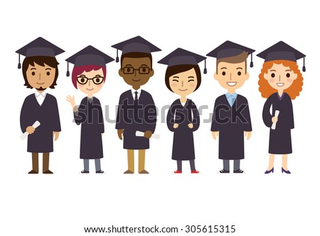 Set of diverse college or university graduation students. Cute and simple flat cartoon style. - stock photo