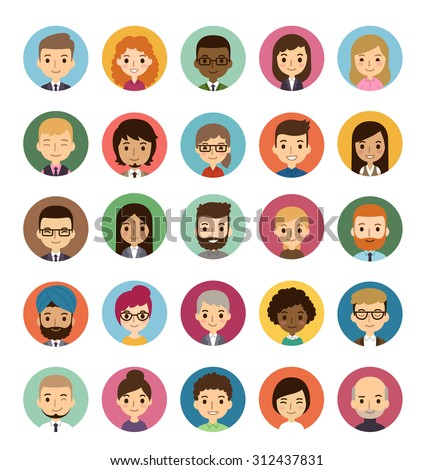 Set of diverse round avatars isolated on white background. Different ethnicities, clothes and hair styles. Cute and simple flat cartoon style. - stock photo
