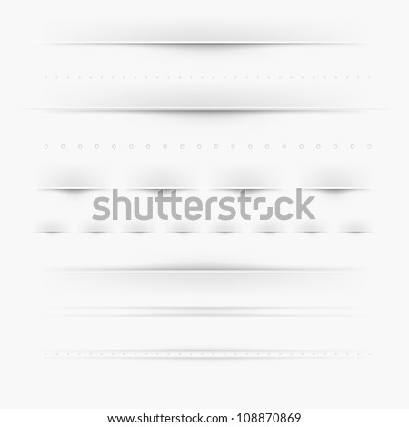 Set Of Dividers, Isolated On Grey Background - stock photo