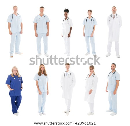 Set Of Doctors With Medical Workers Standing Against White Background - stock photo