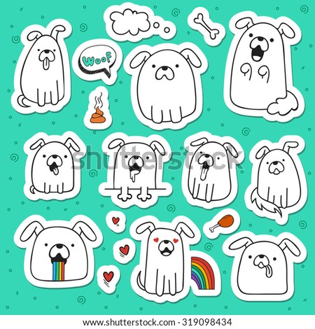 Set of 10 dogs doodle handmade stickers cute funny pets isolated animals
