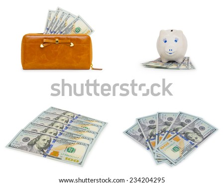 Set of dollars banknotes isolated - stock photo