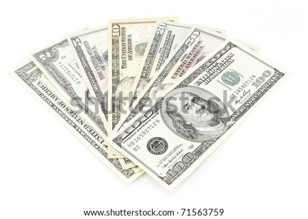 Set of dollars of all values on a white background - stock photo