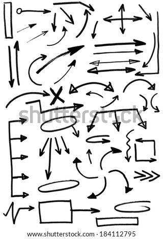 Set of doodle arrows, Hand drawn illustration. - stock photo