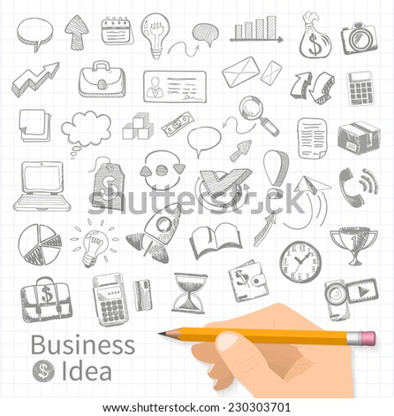 Set of doodle business management infographics elements icons on background in box. Sketch collection of man bubble graph letter badge magnifying glass lightbulb chart arrow bow card. Raster version - stock photo
