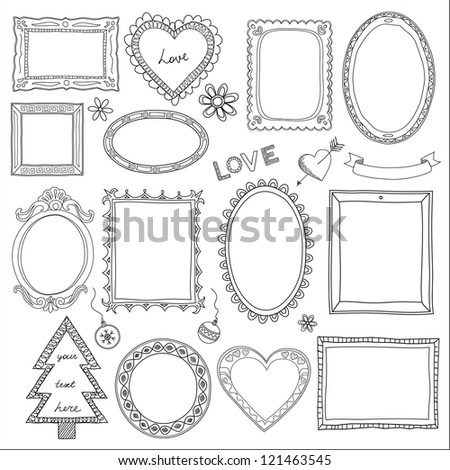 Set of doodle frames and different elements - stock photo