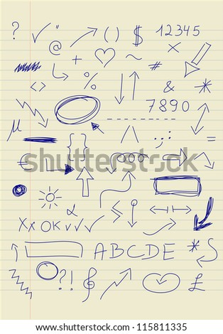 Set of doodle signs - stock photo