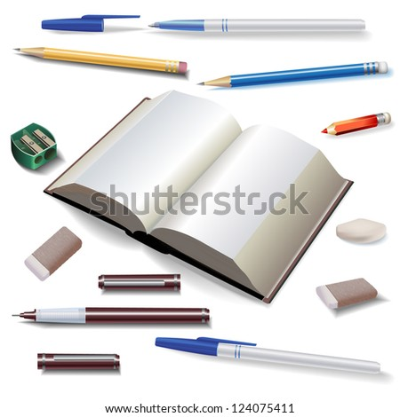 Set of Drawing and Office Tools, isolated on white - Raster version - stock photo
