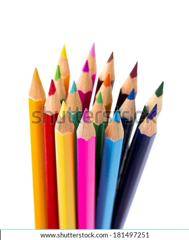 Set of drawing color pencils with copy space isolated on white background in children arts education concept - stock photo