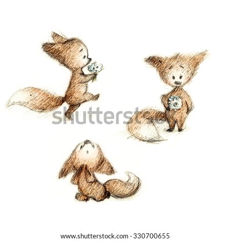 set of drawings of cute fox with flowers - stock photo