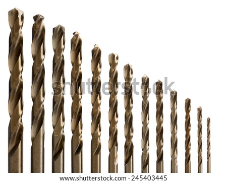 set of drill bits for metal. Isolate on white. - stock photo