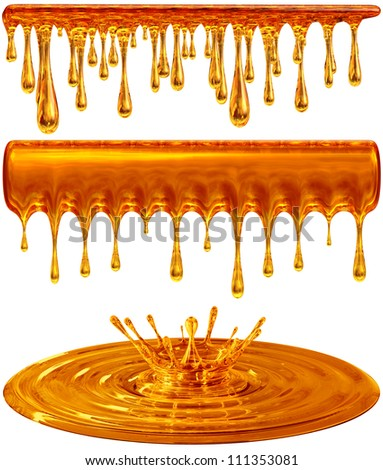 set of dripping and splash golden honey or caramel - stock photo