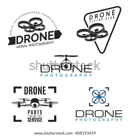 Set Of Drone Logos Badges And Design Elements Quadrocopter Store Repair Service