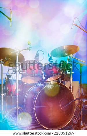 Set of drums on stage - stock photo