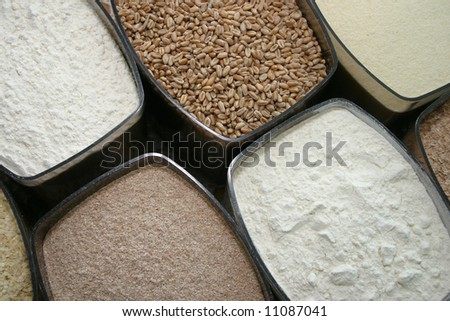 Set of dry food: dust, millet and other cereals - stock photo