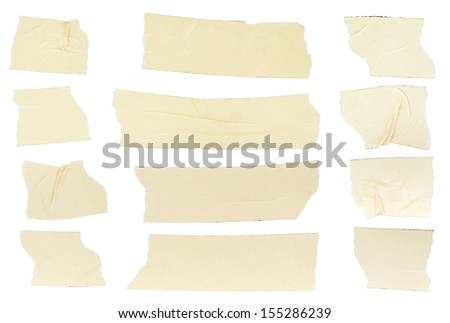 Set of duct tape pieces on white background - stock photo