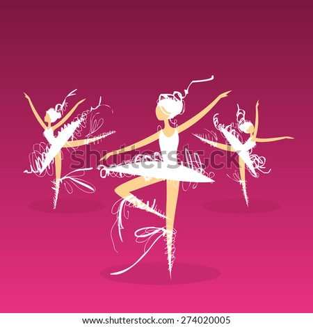 set of dynamic doodle ballet dancers on a stage - stock photo