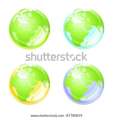 Set of earth globe . Eco concept . - stock photo