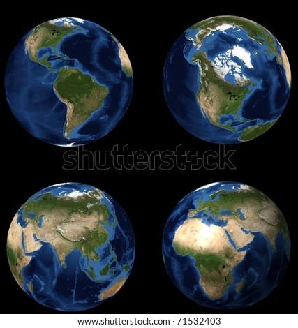 set of earths - stock photo