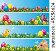 Set of Easter banners - stock vector