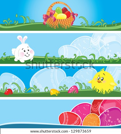 Set of Easter banners with copy space. - stock photo