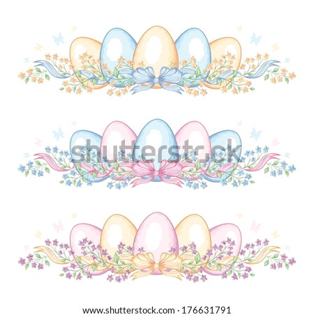 Set of easter borders with eggs and ribbon