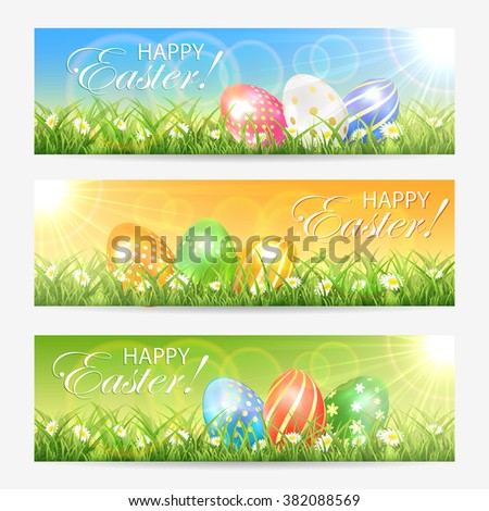 Set of Easter cards with colored eggs in grass and bright sun, illustration. - stock photo