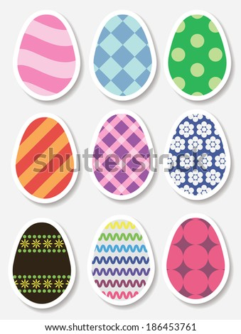 Set of Easter egg stickers. . Raster version - stock photo