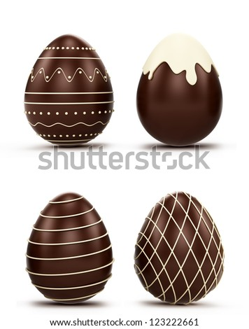 Set of Easter eggs. candy made of white and dark chocolate. Isolated on white background