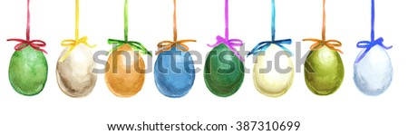 Set of Easter eggs with bow ribbons isolated on white hand-drawn with watercolor