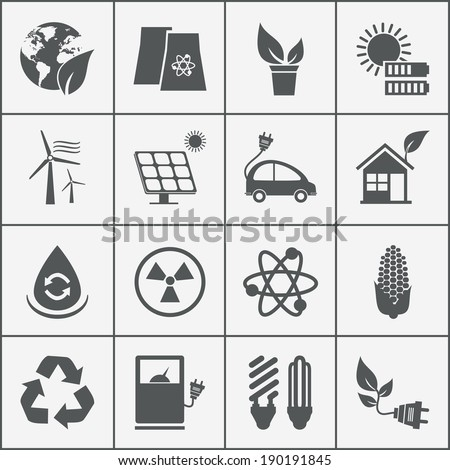 Set of eco energy icons with wind  nuclear  and solar power  electric car  recycling  eco light bulb  maize  biofuel  rechargeable battery  photovoltaic panel  wind turbine and a green house - stock photo