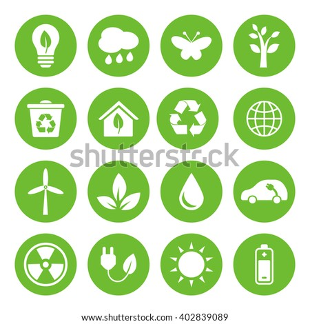 Set of Eco Icons in flat style, white on green basis. Ecology, Nature, Energy, Environment and Recycle Icons. Raster illustration.