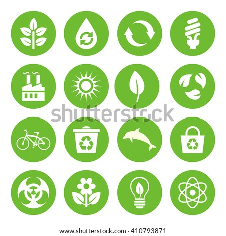 Set of Eco Icons in flat style, white on green basis. Ecology, Nature, Energy, Environment and Recycle Icons. Raster illustration. - stock photo