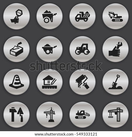 Set Of 16 Editable Building Icons. Includes Symbols Such As Excavation Machine, Home Scheduling, Endurance And More. Can Be Used For Web, Mobile, UI And Infographic Design.