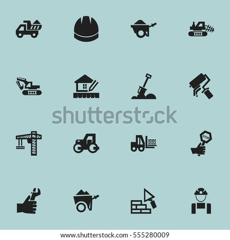 Set Of 16 Editable Building Icons. Includes Symbols Such As Truck, Lifting Equipment, Endurance And More. Can Be Used For Web, Mobile, UI And Infographic Design.