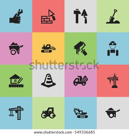 Set Of 16 Editable Construction Icons. Includes Symbols Such As Handcart , Hands , Notice Object. Can Be Used For Web, Mobile, UI And Infographic Design.